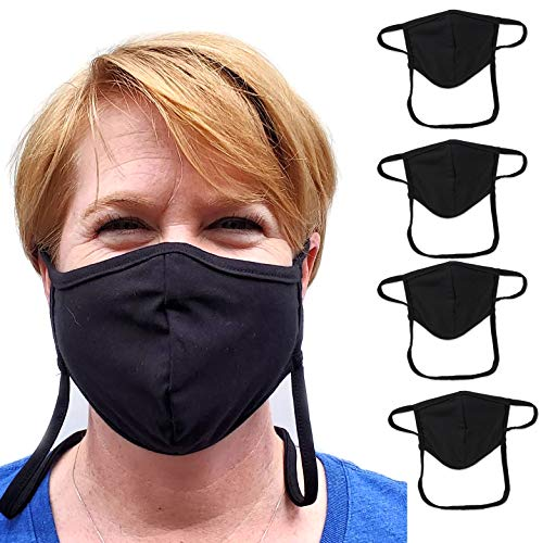 Buttonsmith Black Adult Cotton Adjustable Face Mask – Pack of 4