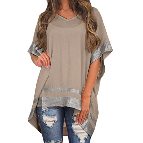 Womens Tops Summer Sexy ILUCI Women Plus Size Sequined Decorated V-Neck Half Sleeve Sparkly Capelet Blouse Khaki ()