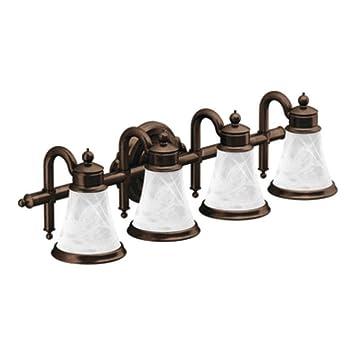 moen yb9864orb waterhill four globe bath light oil rubbed bronze - Oil Rubbed Bronze Bathroom Lighting