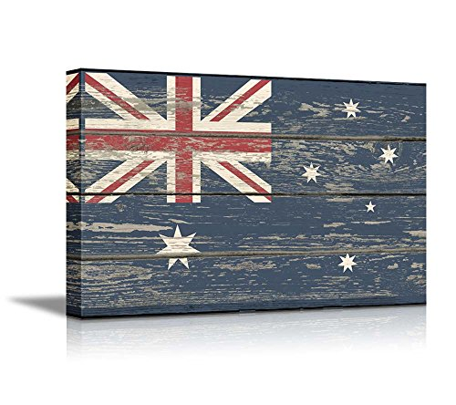 (wall26 - Canvas Prints Wall Art - Flag of Australia on Vintage Wood Board Background Stretched Canvas Wrap. Ready to Hang - 24