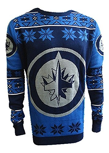 NHL Winnipeg Jets Unisex NHL Big Logo Ugly Crew Neck Sweater, Large