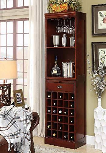 Cherry Bar Hill Wine (Coaster Traditional Classic Cherry Finished Wall Bar Unit)