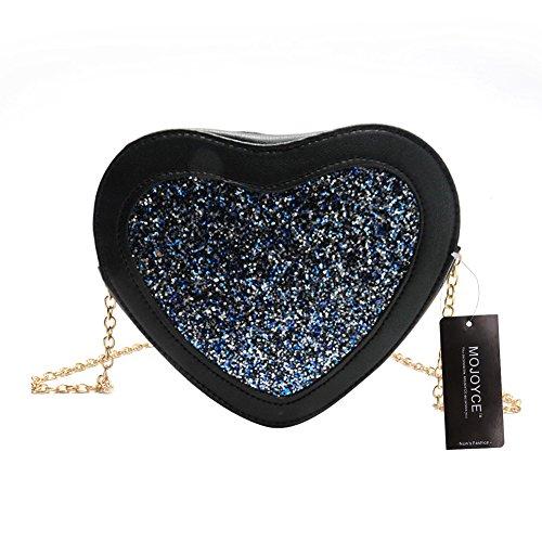 Cuir en de PU Fille Cabina Bandoulière Mini Bleu Bag Sac La À Sac Femmes d'épaule Coeur Paillette Forme Crossbody FqYpw80n