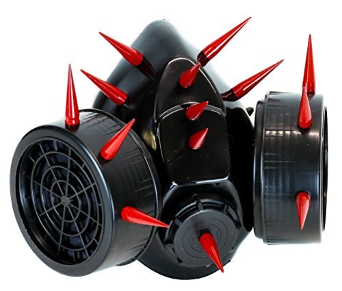 (YDS Accessories Red Tall and Skinny Spike respirator Cyber Cosplay)