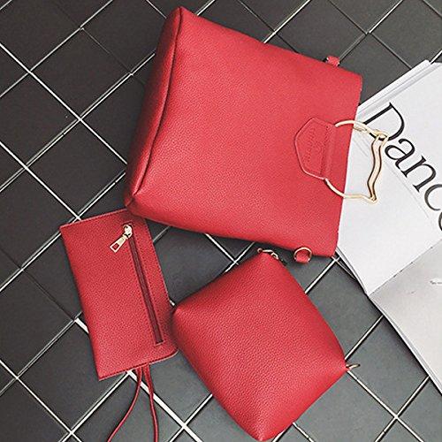 Espeedy 3 Pcs / Set Moda Mujer Bolso Messenger Bag Bolso De Cuero De Gato De Oídos Metal Mango Señoras Crossbody Bolsos De Hombro rojo
