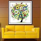 Bazaar 45x45cm DIY Needlework Summer Tree Cross Stitch Kits Embroidery Print