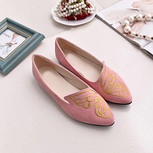 Walking Shoes Slip Ballet Flats Tenworld On Driving Pink Pointed Womens Comfort Toe wEqExYXT