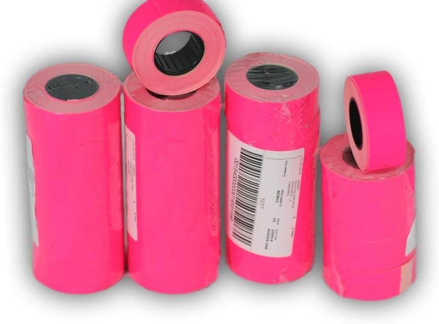 Nastri con etichette di carta colorata adesiva da 21 x 12 mm colore: bianco confezione da 10 ideali per pistola etichettatrice MX-5500