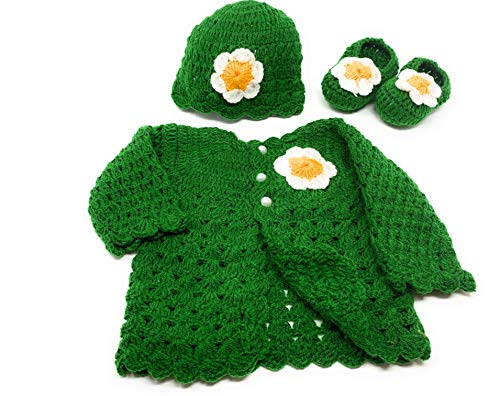 (Hand Made 3 Piece Knitted Warm Cozy Baby Crochet Set- Newborn Toddler Wool Sweater Set Includes- Booties & Hat (0-6 Month, Green Vine Flower))