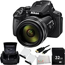 Nikon COOLPIX P900 Digital Camera (Black) - International Version (No Warranty) 32GB Bundle 6PC Accessory Kit. Includes 32GB Memory Card + 2 Extended Life Replacement Batteries + Carrying Case + Micro HDMI Cable + Microfiber Cleaning Cloth