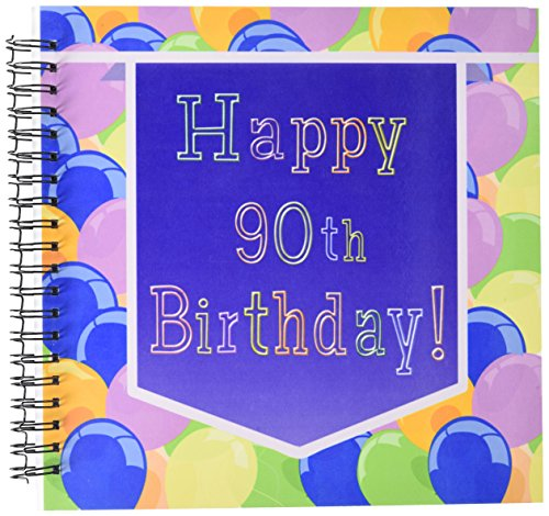 3dRose db_173072_2 Balloons with Purple Banner Happy 90Th Birthday Memory Book, 12 by 12-Inch