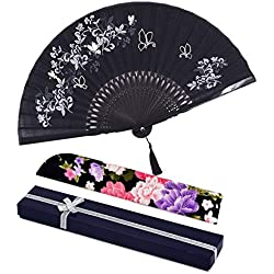"Amajiji folding fan, 8.27""(21cm) Women Hand Held Silk Folding Fans Bamboo Frame, Hollow Carve Patterns Bamboo Frame Women Hand Folding Fans Hand Fan Folding Fan (Black Gift Box)"