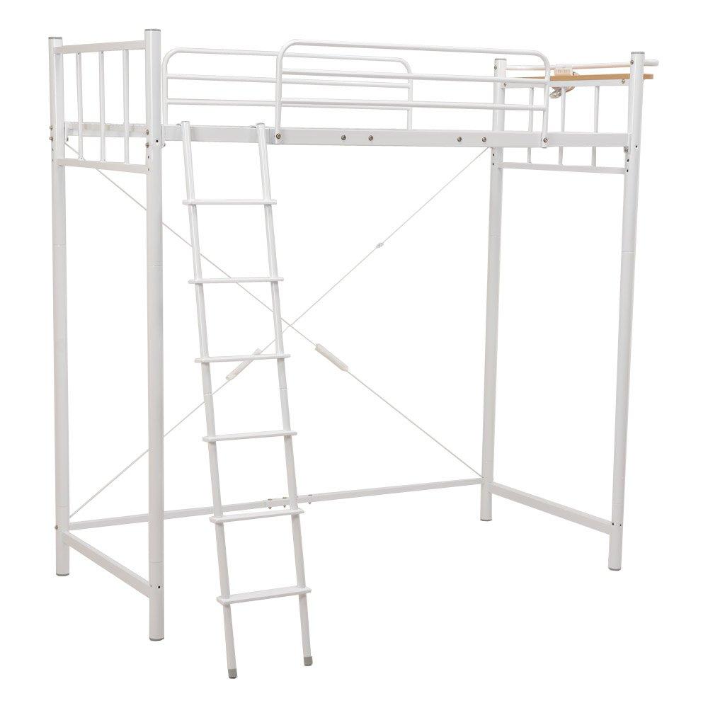 ロフトベッド シングルベッド 高さ205cm フレームのみ/*02ホワイト B01E8QJ75A ホワイト