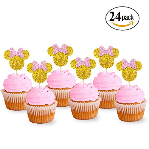 Levfla Pink And Gold Glitter Minnie Mouse Inspired Cupcake Toppers Girls Birthday Party Decorations Pack of (Glitter Mice Decorations)
