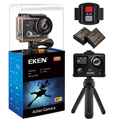 EKEN V8S 4K EIS Action Camera, Wifi Waterproof Sports Camera with 4K25/1080P60 fps Video, 14MP Photo and 170 Wide-Angle Lens, includes 10 Mountings Kit, 2 Batteries (Black) Action Cameras EKEN