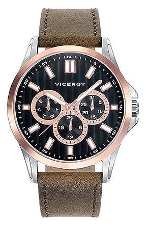 Viceroy Reloj Analogico para Hombre de Cuarzo con Correa en Cuero 42249-57: Amazon.es: Relojes