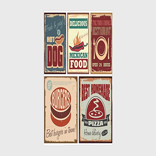 Cotton Microfiber Hotel SPA Beach Pool Bath Hand Towel,1950s Decor,Nostalgic Tin Signs and Retro Mexican Food Prints Aged Advirtising Logo Style Artistic Design,Multi,for Kids, Teens, and Adults by iPrint