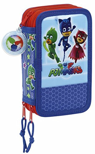 PJ Masks 411711857 Filled Pencil Case Triple, 3 Compartments, markers, crayons, Accessories