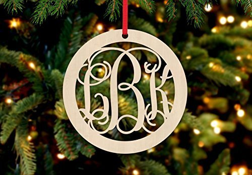 Personalized Christmas Ornament- Circle Hollow - Monogram Ornament