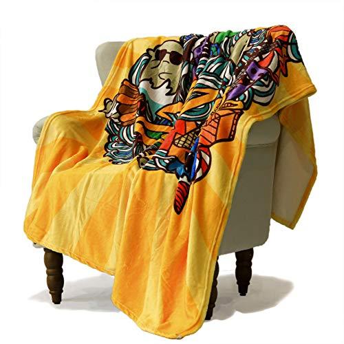 SimbaDeco New Year's Decorative Sofa Bedding Throw Blanket for Sofa Cute Cartoon Characters Dancing Santa Claus Blankets Super Soft Warm Flannel Plush Sherpa Fleece 50x70 Inch Yellow]()