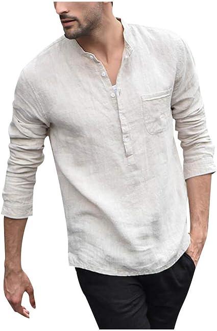 Glaiidy Camisa De Hombre En Algodón Y Lino Estilo Chino Manga Larga Y Medio Cárdigan con Cuello En V: Amazon.es: Ropa y accesorios