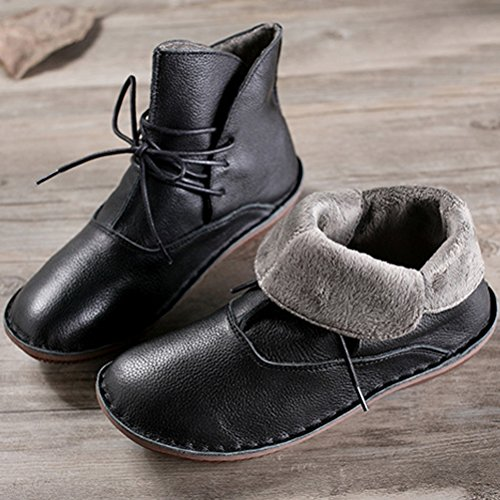 Style 1 Fleece New Leather Black Boots Short Mordenmiss Women's Shoes ZnUfYqYSx