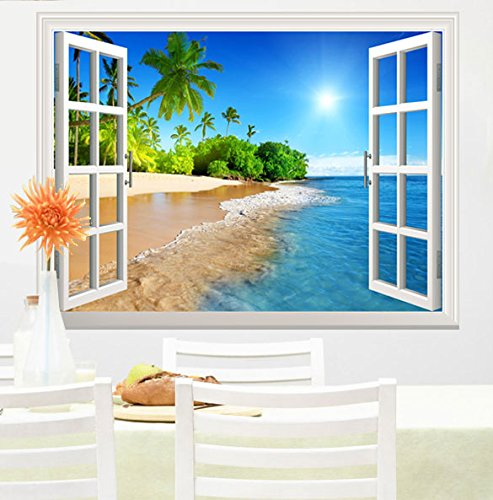 wall26 White Beach with Blue Sea and Palm Tree Open Window Mural Wall Decal Sticker - 36''x48'' by wall26 (Image #2)
