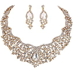EVER FAITH Women's Austrian Crystal Flower Cluster Teardrop Necklace Earrings Set Clear Gold-Tone