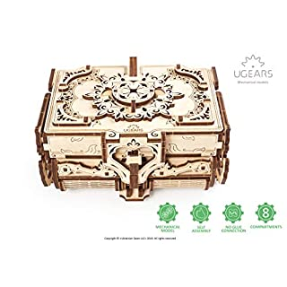 UGEARS 3D Wooden Puzzle Box - 3D Puzzle Antique Wooden Box - High-quality Wooden Model Kits for Adults and Teens - Laser-cut Mechanical Model Construction Kit - Ideal Birthday and Christmas Gift