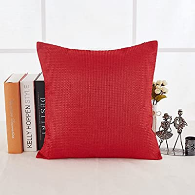 Deconovo Durable Waffle Weave Pattern Throw Pillowcase Cushion Cover With Invisible Zipper For Sofa 18x18 Inch Red 1Pcs - Deconovo waffle weave throw cushion cover is perfect for chair, sofa, bed, couch, travel and nap. This throw cushion cover is made of 100 percent high quality polyester with 7 exciting solid colors which can add luxury style to any decor. Hidden zipper for easy insertion or removal of cushion. - living-room-soft-furnishings, living-room, decorative-pillows - 51CgWC7v0zL. SS400  -