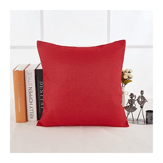 Deconovo Durable Checkered Pattern Throw Pillowcase Cushion Cover with Invisible Zipper for Sofa, 18x18 Inch, Red - SOLID FABRIC: Deconovo cushion covers are crafted with 100 percent high quality polyester fabric. Our cushion cases are solidly woven, produced with premium grade material. The fabric is heavy and strong enough to resist to wear. WAFFLE PATTERN: This throw pillow case is woven on the surface and interior with a waffle design that gives a luxury and elegant look to the cushion. This waffle pattern revamps and refines the room's decoration, giving it a fashionable and opulent decor appearance. HIDDEN ZIPPER: The throw cushion case offers an easy to use invisible zipper closure on one side. The zipper color improves the cushion cover appearance and eases the insertion and removal. Decorative faux linen cushion cover is perfect for sofa, couch, chair, bed, school, travel and naps. - living-room-soft-furnishings, living-room, decorative-pillows - 51CgWC7v0zL. SS570  -