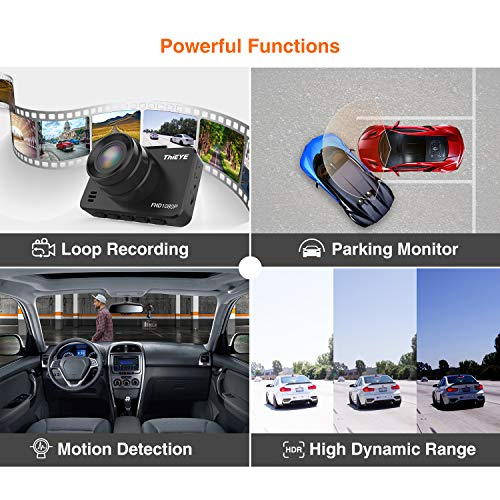 ThiEYE Dash CAM Mini Car Camera 1080 P Grabadora de conducción de automóviles con 145 ° Gran Angular G-Sensor, Monitor de estacionamiento, WDR, Detección de ...