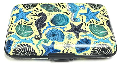 Sea Data Card - Fig Design Group Seahorses Shells RFID Secure Data Theft Protection Credit Card Armored Wallet
