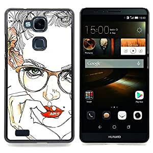 - Lips Sensual Girl Red Smart Glasses - - Snap-On Rugged Hard Cover Case Funny HouseFOR HUAWEI Ascend Mate 7