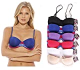 Just Intimates Bras for Women – Petite to Plus Size/ Full Figure (Pack of 6) – 32A, Push Up Convertible Strapless Bra