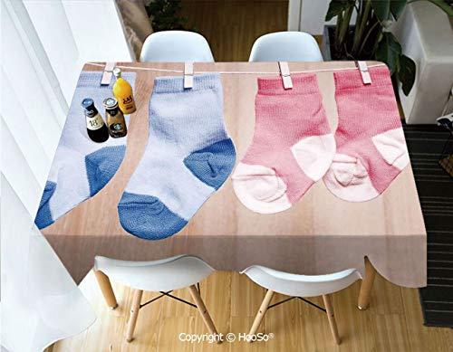 HooSo Fabric Rectangular Table Cloth, Washable Table Cover Perfect for Christmas, Thanks Giving, Dinner Parties, BBQ and Everyday Use,Gender Reveal,Baby Socks Attached to Rope Cute,60