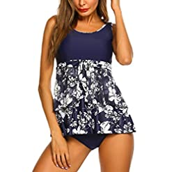 Hotouch Womens Two Piece Bathing Suits Swimdress Printed Tankini Swimsuits For Women S Xxl