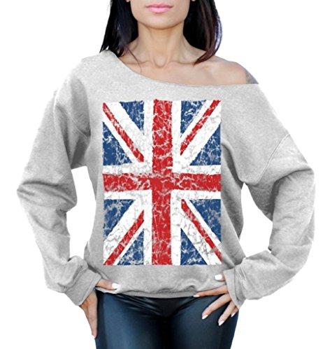 Raxo Union Jack Flag Off the Shoulder Oversized Slouchy Sweater Sweatshirt
