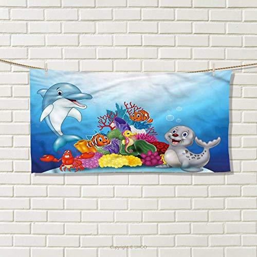 "ZJ66dzmt Aquarium Hand Towel Ocean Animals Coral Reef Travel Towel Size: W 12"" x L 27.5"""