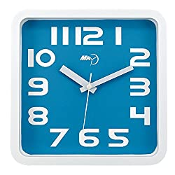 Maytime Modern contemporary Clear 2D Number Indoor Square Wall Clock Quartz Silent Blue 9 Inch
