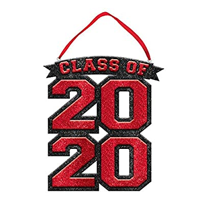 "Class Of 2020 Sign - Red, Foam & Glitter, 10""x9"": Toys & Games"