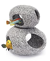 Penn Plax Stone Replica Aquarium Decoration Realistic Granite Look with Fish Hideaway 2 Piece Set Size Large/XLarge