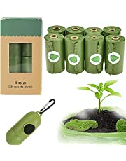 Biodegradable Poop Bags for Dogs, Green, Unscented, Easy-tie Biodegradable Un-Scented Dog Waste Bags with Dispenser(8 Rolls/120 Bags)