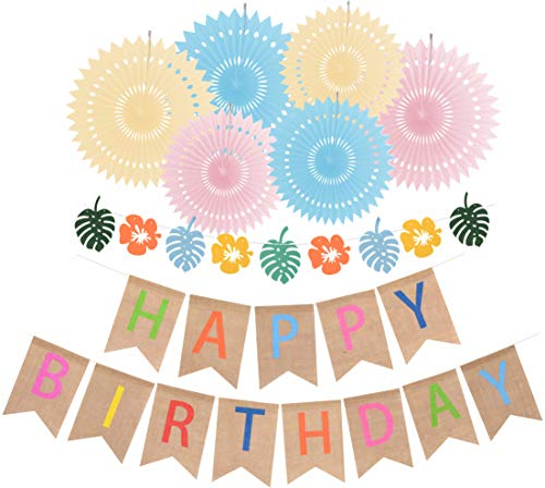 Rustic Burlap Happy Birthday Banner   Colorful Happy Birthday Banners for Birthday Party Decorations   Pre-Strung, No Assembly Required   6 colorful Paper Fans -