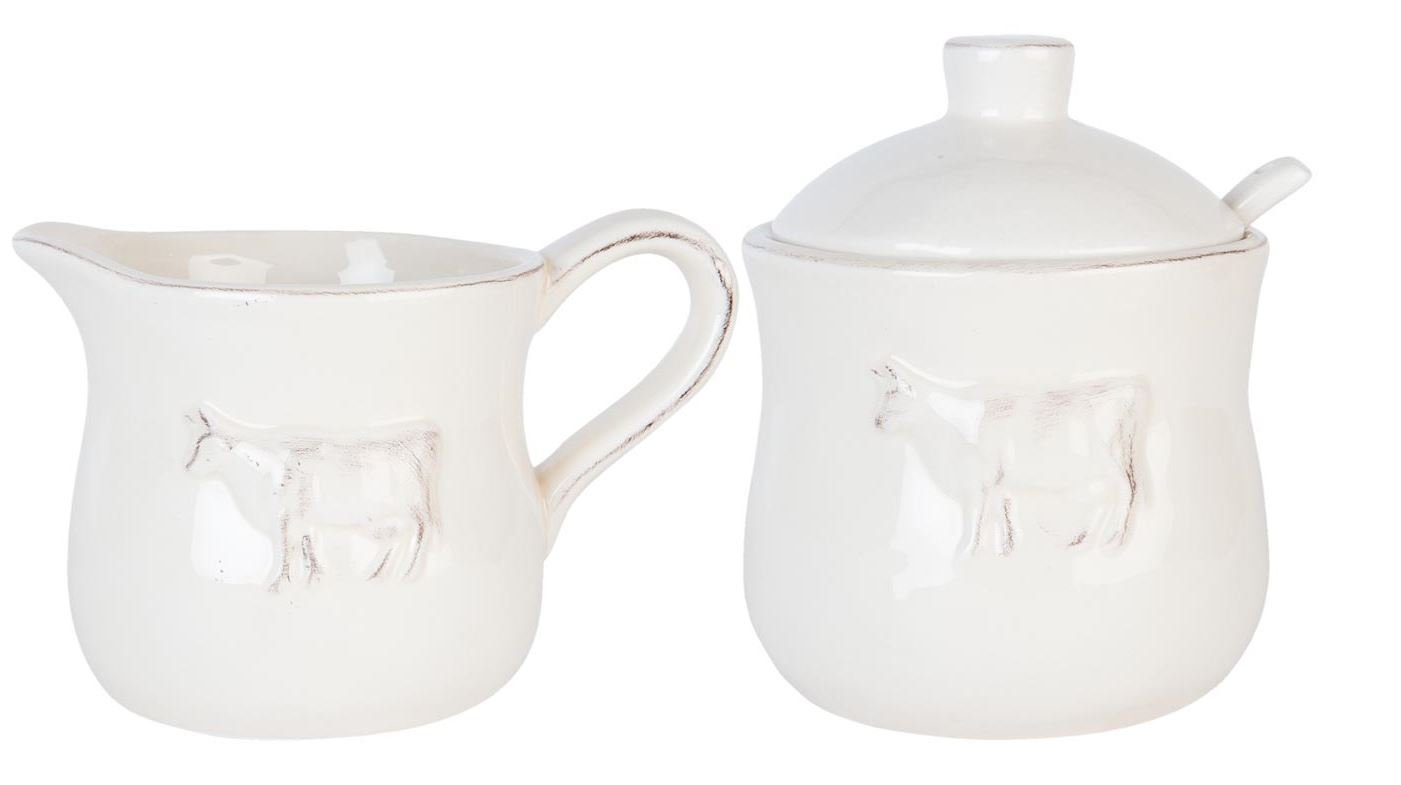 LUXURY NORDIC COW SUGAR BOWL SPOON MILK JUG PORCELAIN GLAZE CREAM LATTE Kitchen Unique