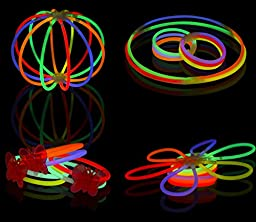 Joyin Toy 200 8'' Glowsticks Glow Sticks Bracelets Glow Necklaces Party Favors Pack (7 Colors Total 456 PCs)