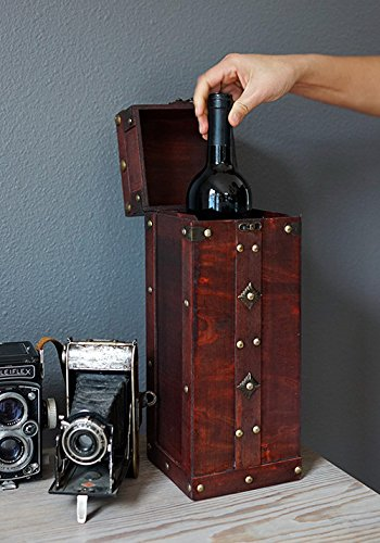 Chateau Treasure Chest Wine Box by Twine – (Holds 1 750ml Wine Bottle) by Twine (Image #4)