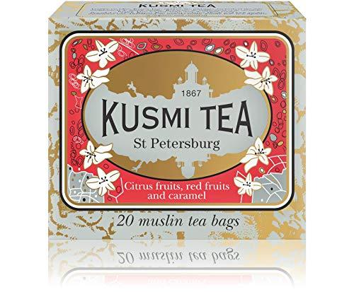 (Kusmi Tea St. Petersburg Black Tea - Earl Grey, Caramel, Red Fruits, and Essential Oils of Bergamot Mixture With a Hint of Vanilla Perfect Taste (20 Muslin Tea Bags))