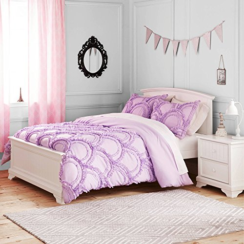 2 Piece Purple Ruffles Scallop Pattern Comforter Twin Set, Beautiful All Over Handcrafted Rich Ruffled Waves Design, Geometric Design Fashionable Bedding, For Kids Bedrooms, Bright Color, Polyester
