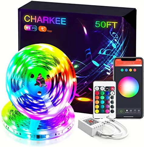 Led Strip Lights, Charkee Smart Led Lights 50ft, RGB Color Changing Strip with WiFi, Work with Alexa and Google Assistant for Room, Bedroom, Kitchen